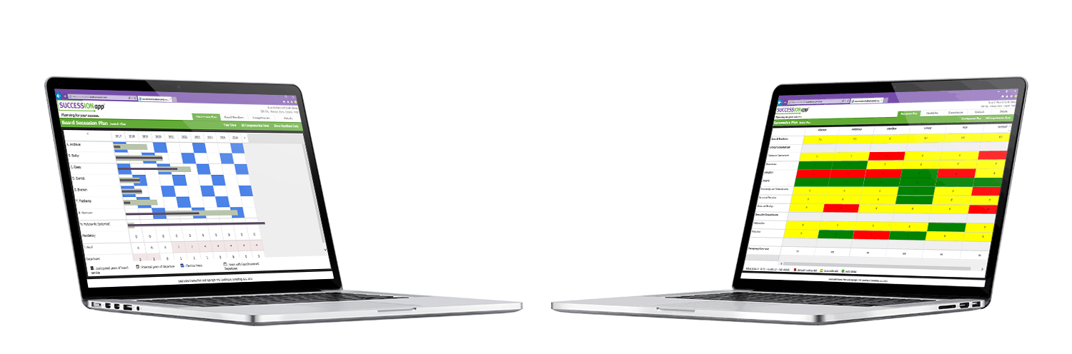 Laptops With SUCCESSIONapp Succession Planning Software on the screen