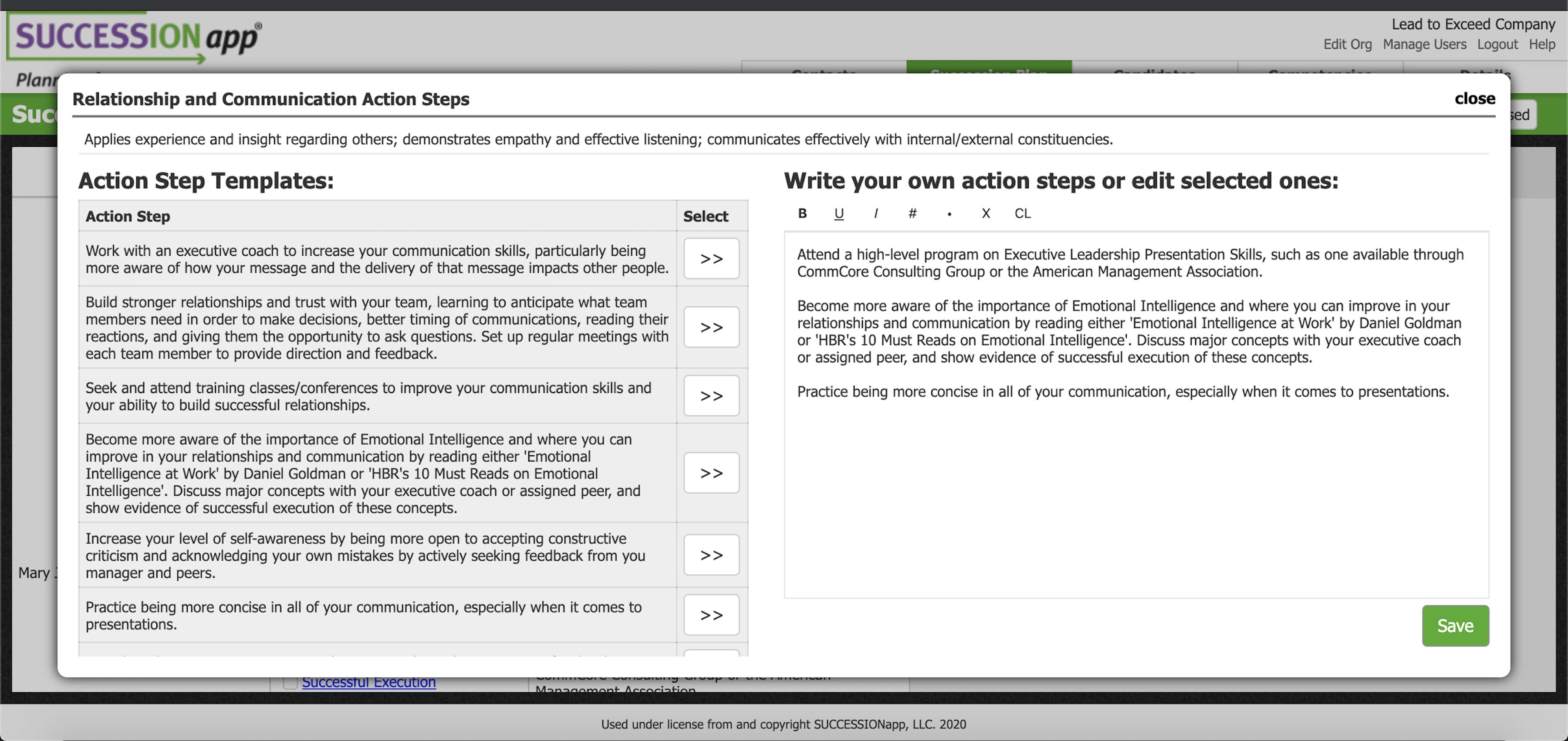 Screenshot of SUCCESSIONapp Software: Development Plan creation made easy